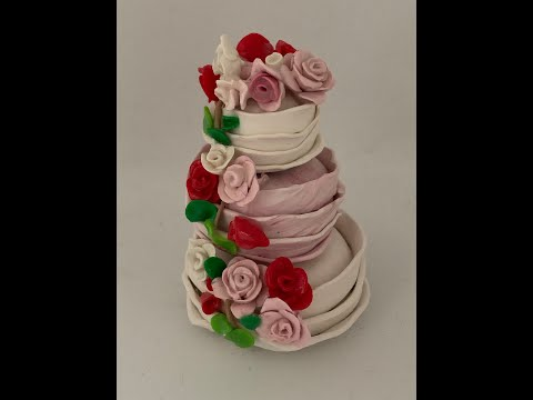Simple how to make a miniature Wedding Cake in Polymer Clay tutorial