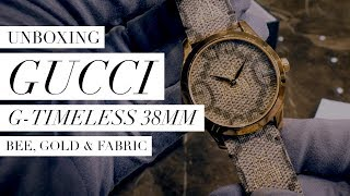 Gucci G-Timeless 38mm Bee, Gold & Fabric UNBOXING: Design, Movement, Feel