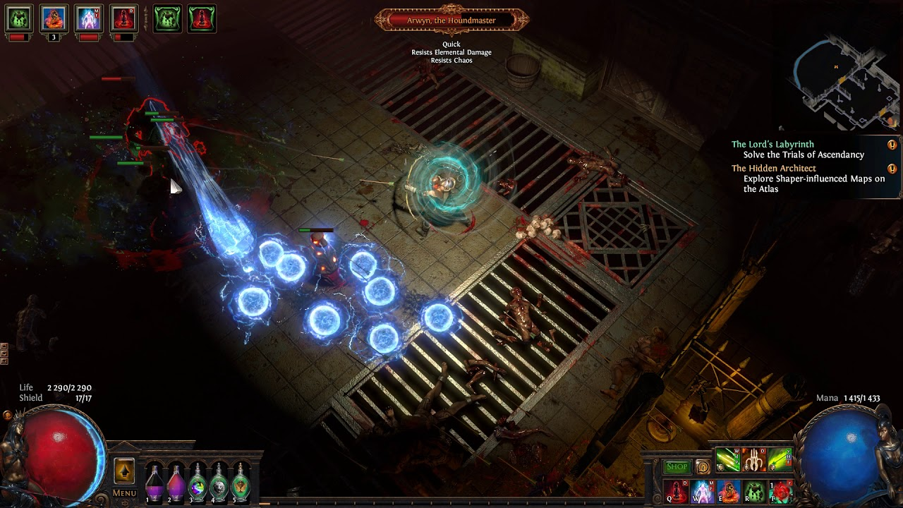 Path Of Exile - barrage - fps drop