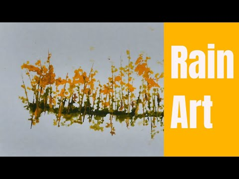 Painting with Raindrops / Abstract Watercolor Landscape Painting / Simple Painting Technique