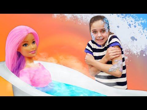 Видео про куклы и Салон красоты Барби. Согревающая ванна и сборы на свидание!
