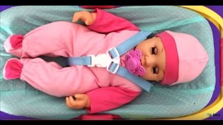 Baby doll feeding cooking toy food putting to sleep in car seat carrier