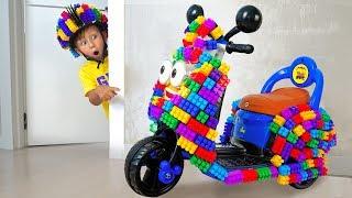 Senya played with Colored Blocks and Built a Cool Mini Dirt Bike