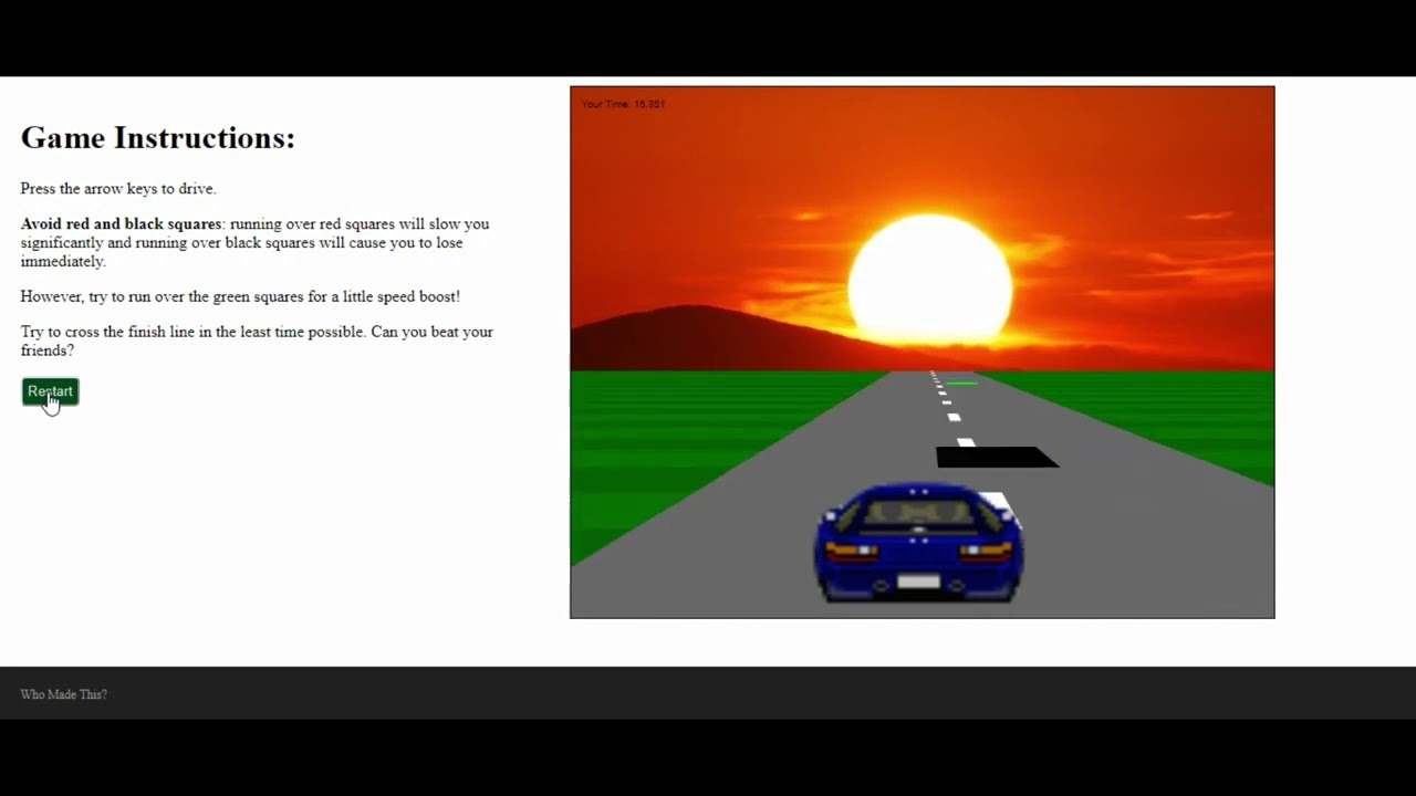 Sunset Drive Game In JavaScript With Source Code