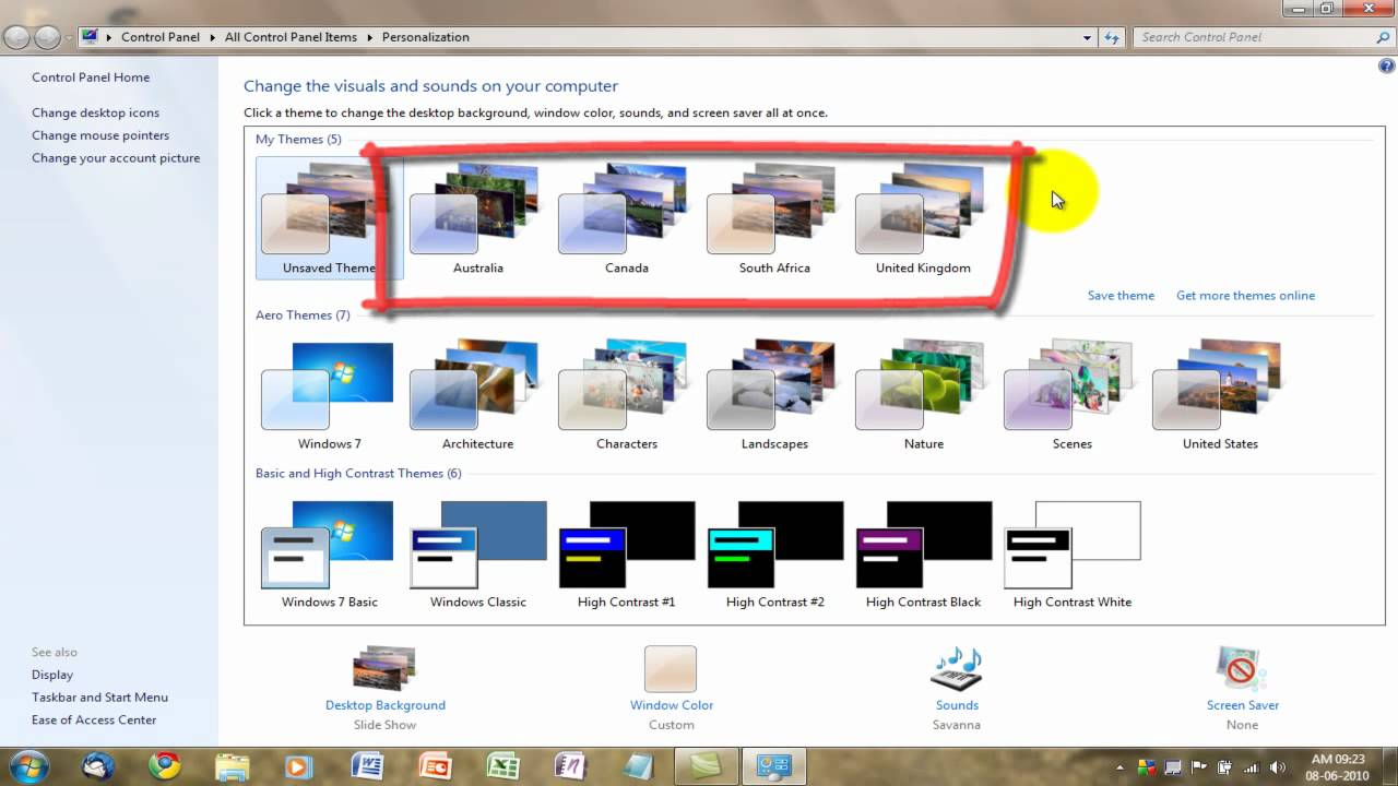 unlock hidden windows 7 themes and get more online youtube