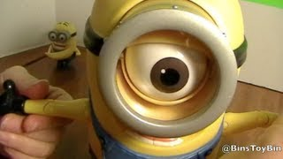 MINION STUART Despicable Me 2 Laughing Action Figure! Large Minion Toy! Review by Bin's Toy Bin