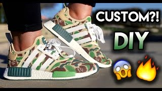 how to bape nmd custom from all white adidas   full painting timelapse tutorial on feet