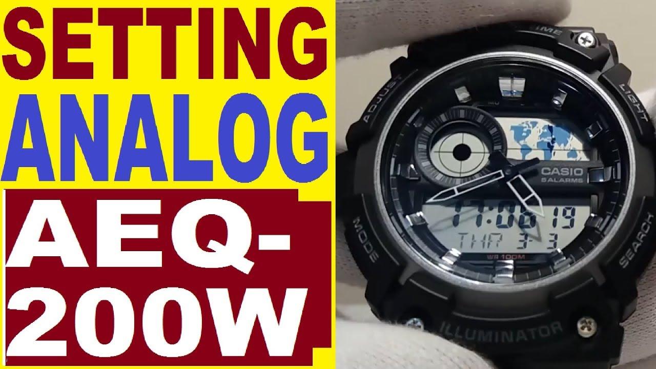 bf8dd46804e2 Setting Casio AEQ-200W analog time 5472 manual - YouTube