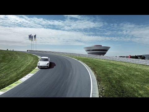 Porsche Works Driver Brendon Hartley meets the new Panamera 4 E-Hybrid on the racetrack.