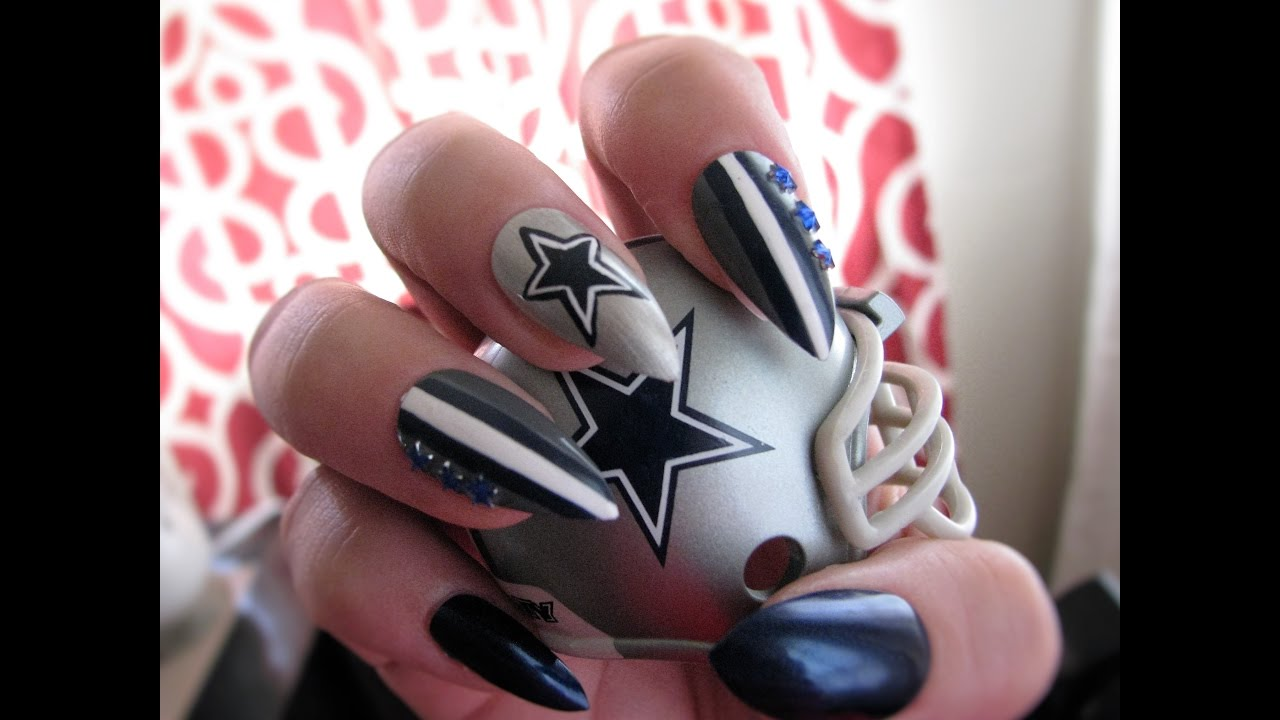 Dallas Cowboys Nail Art Tutorial - YouTube