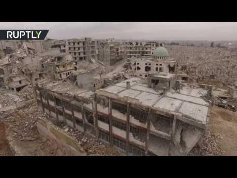 مشاهد مرعبة للدمار في حي بستان القصر في حلب