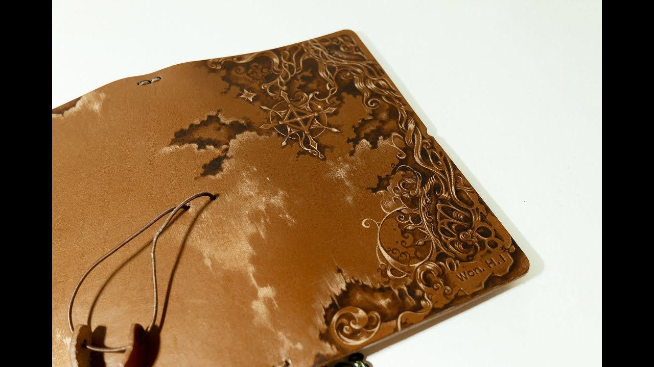Leather Notebook Cover Pyrography Youtube
