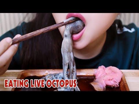 ASMR LIVE octopus challenge (exotic food) eating sound part 2 LINH-ASMR