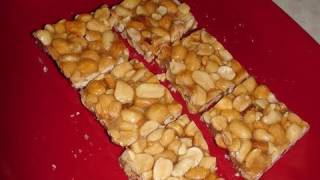 Sing chikki or Gachak or Peanut Chikki or Mumfali Chikki (Peanut bar or brittle)