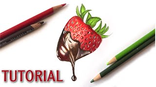How To Draw A Chocolate Strawberry | Color Pencil Tutorial