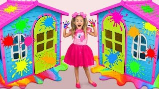 Sasha Paints and Decorates Playhouses & play in coloring Challenge with toys thumbnail