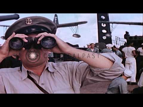 US marines recreational activities on board naval ship during Operation Crossroad...HD Stock Footage