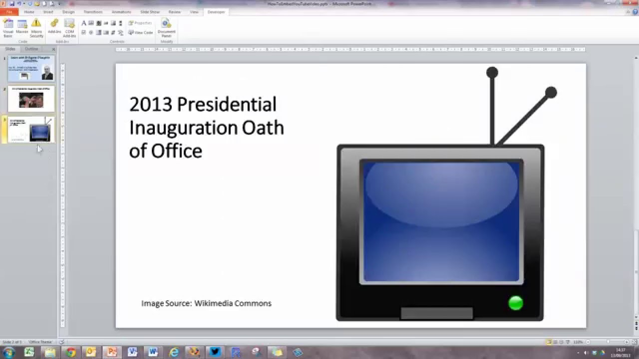 How To Embed A Youtube Video Into A Powerpoint 2010 Presentation  [workaround]  Youtube