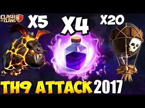 4 RAGE SPELL + PENTALAVA: TH9 BEST WAR ATTACK STRATEGY 2017 | It Still Works? | Clash of Clans