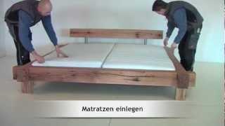 Montage / Aufbau des Massivholzbettes Mammut Sumpfeiche von MÖBEL EINS