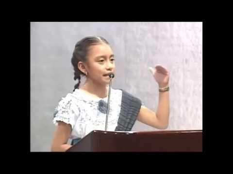 Discurso de la niña Natalia Lizeth López López, orgullosa de ser de origen indígena