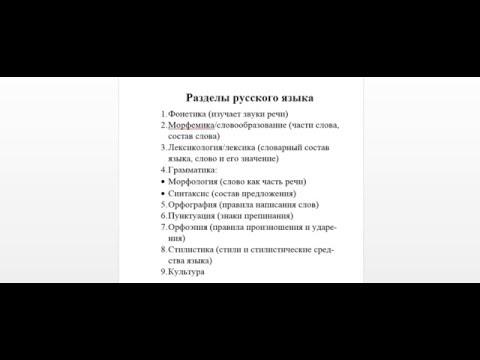Разделы русского языка