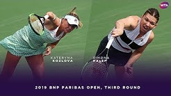 Kateryna Kozlova vs. Simona Halep | 2019 BNP Paribas Open Third Round | WTA Highlights