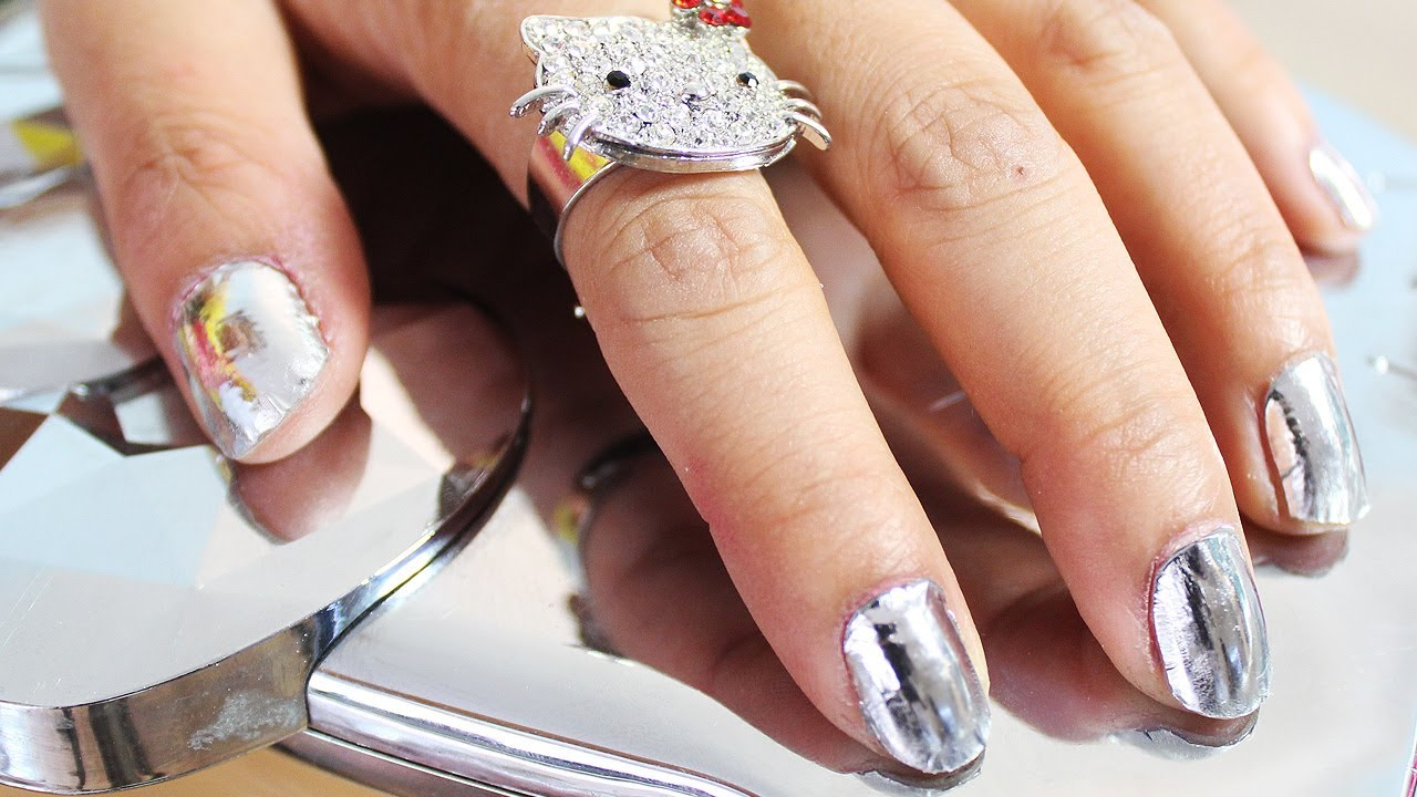 How to: Silver Mirror Foil Nails - YouTube