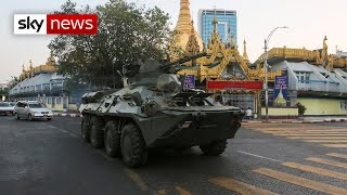 Myanmar protests: Armoured tanks deployed in streets