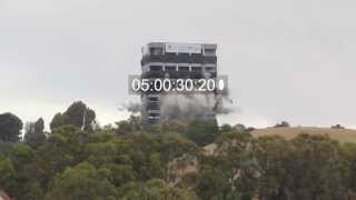 Building Explodes (Implodes, whatever), Hayward California, Warren Hall at CSU East Bay