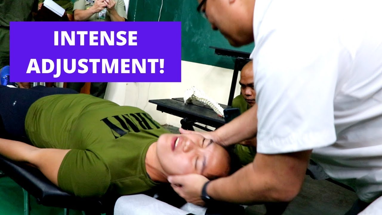 Intense Chiropractic Adjustment for Army Volleyball Player by Metro Manila Chiropractor