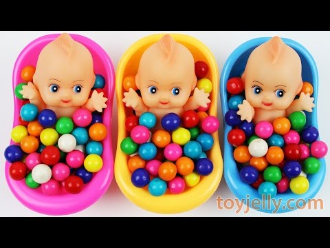 Thumbnail: Learn Colors Bubble Gum Baby Doll Bath Time Nursery Rhymes Finger Family Song For Children