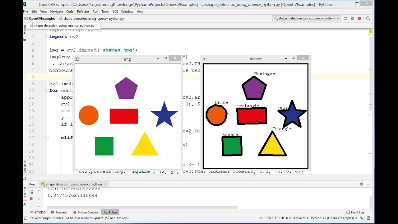 OpenCV Python Tutorial For Beginners 25 - Detect Simple Geometric Shapes  using OpenCV in Python