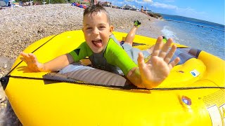 Timko and dad play fun games outdoor | Sea adventures