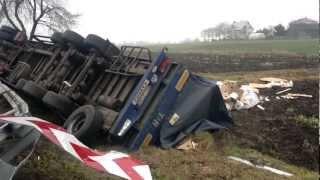 Ostromęczyn Łosice Wypadek Tir w rowie 25.11.2012