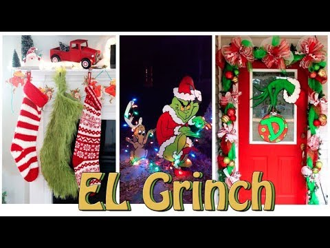 Decoraci n navide a con el grinch interior exterior y for Decoraciones navidenas para puertas de oficina