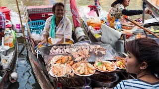 Thai Food at Amphawa Floating Market - Thailand SEAFOOD FEAST Cooked on a Boat! thumbnail