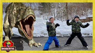 Dinosaur Escape Showdown! Giant Dinosaurs for Kids & Power Wheels with Chase and Cole Adventures