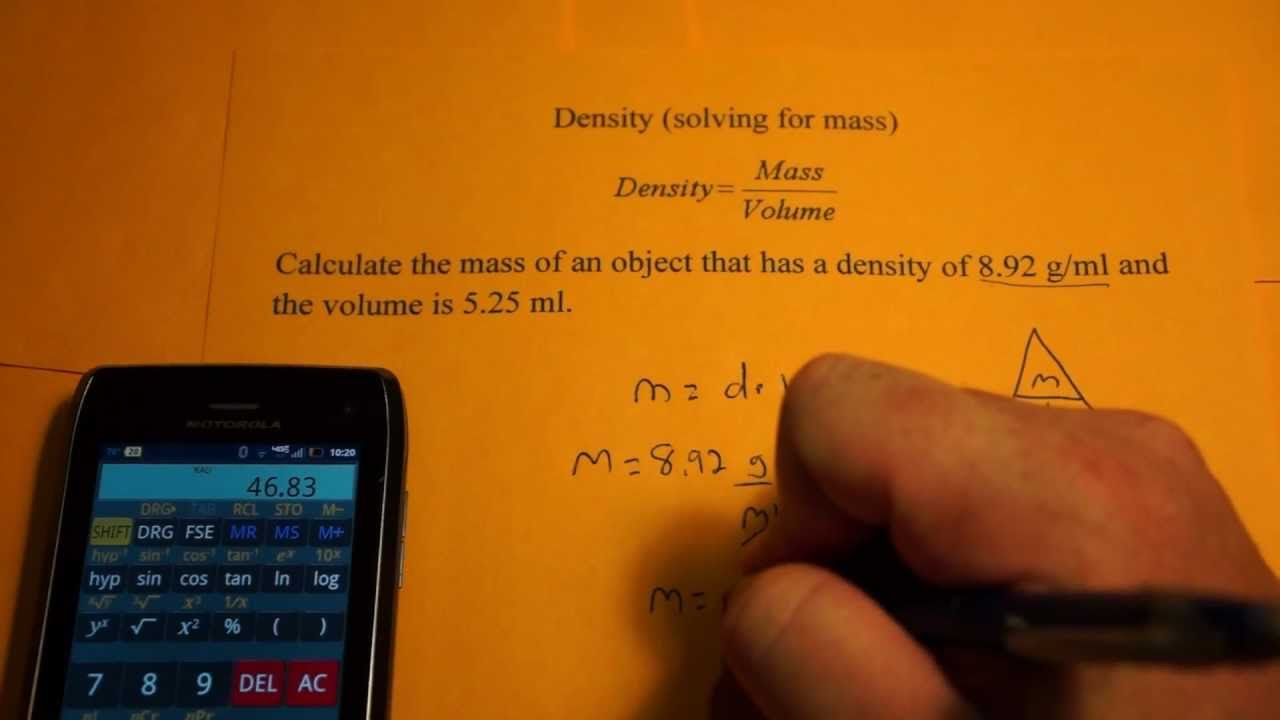 Determining Mass from Density and Volume