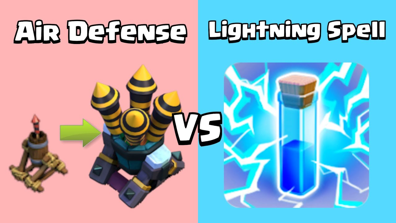 Every Level Lightning Spell VS Every Level Air Defense | Clash of Clans