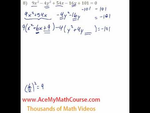 Conics General To Standard Form 8 Youtube