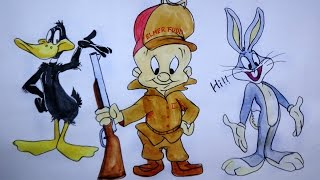 Daffy duck Elmer fudd Bugs bunny Dancing | How to draw cartoon characters