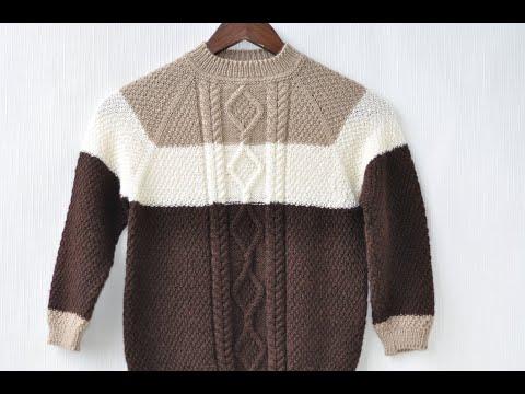 Красивый пуловер спицами для мальчика