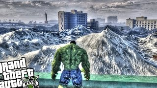 The Incredible Hulk vs Huge Tsunami - GTA 5 PC Hulk Mod (Tsunami Attacks Los Santos)