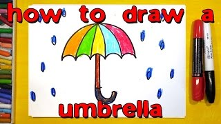 How to draw a umbrella and rain