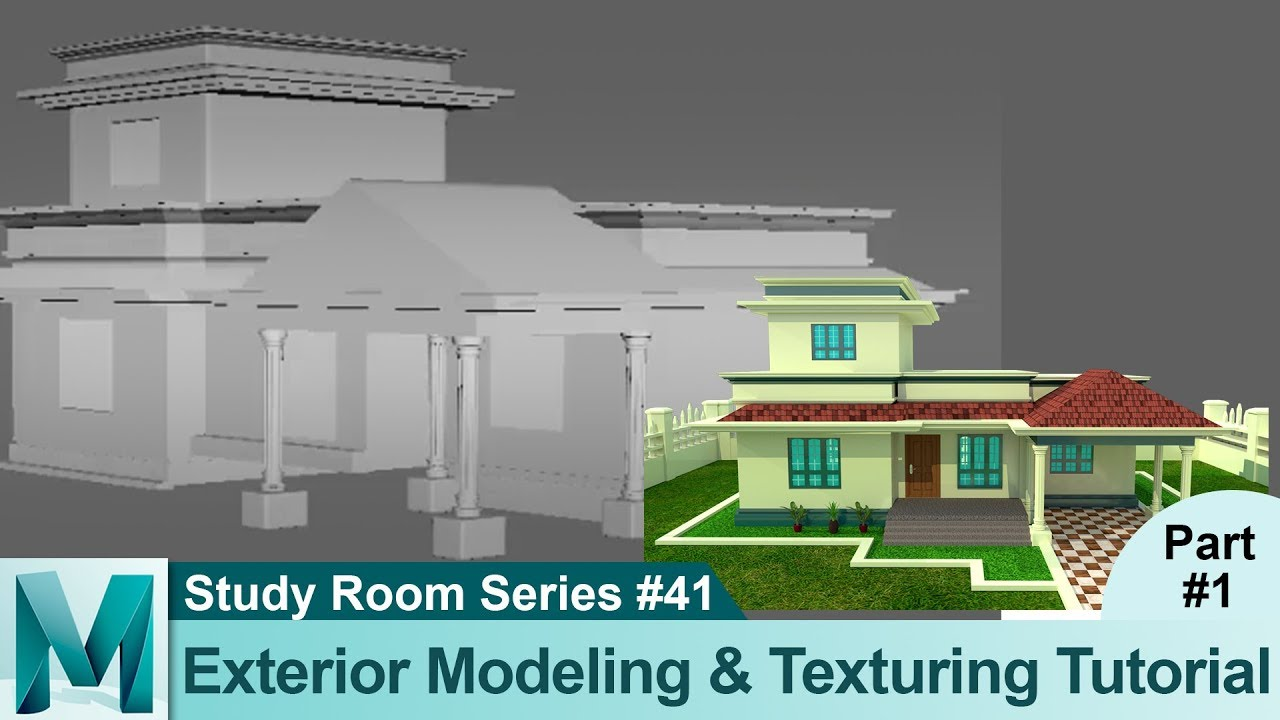 House Exterior Modeling Tutorial (Part 1) in Autodesk Maya 2017 3D for  Beginners Series #41