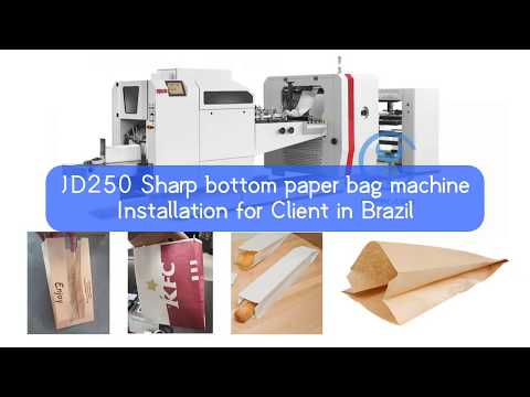 JD250  Sharp bottom flat paper bag machine for Client in Brazil