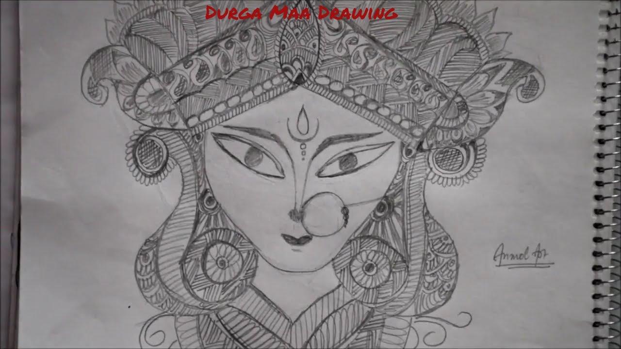 How to draw durga maa durga maa ki drawing durga maa sketch