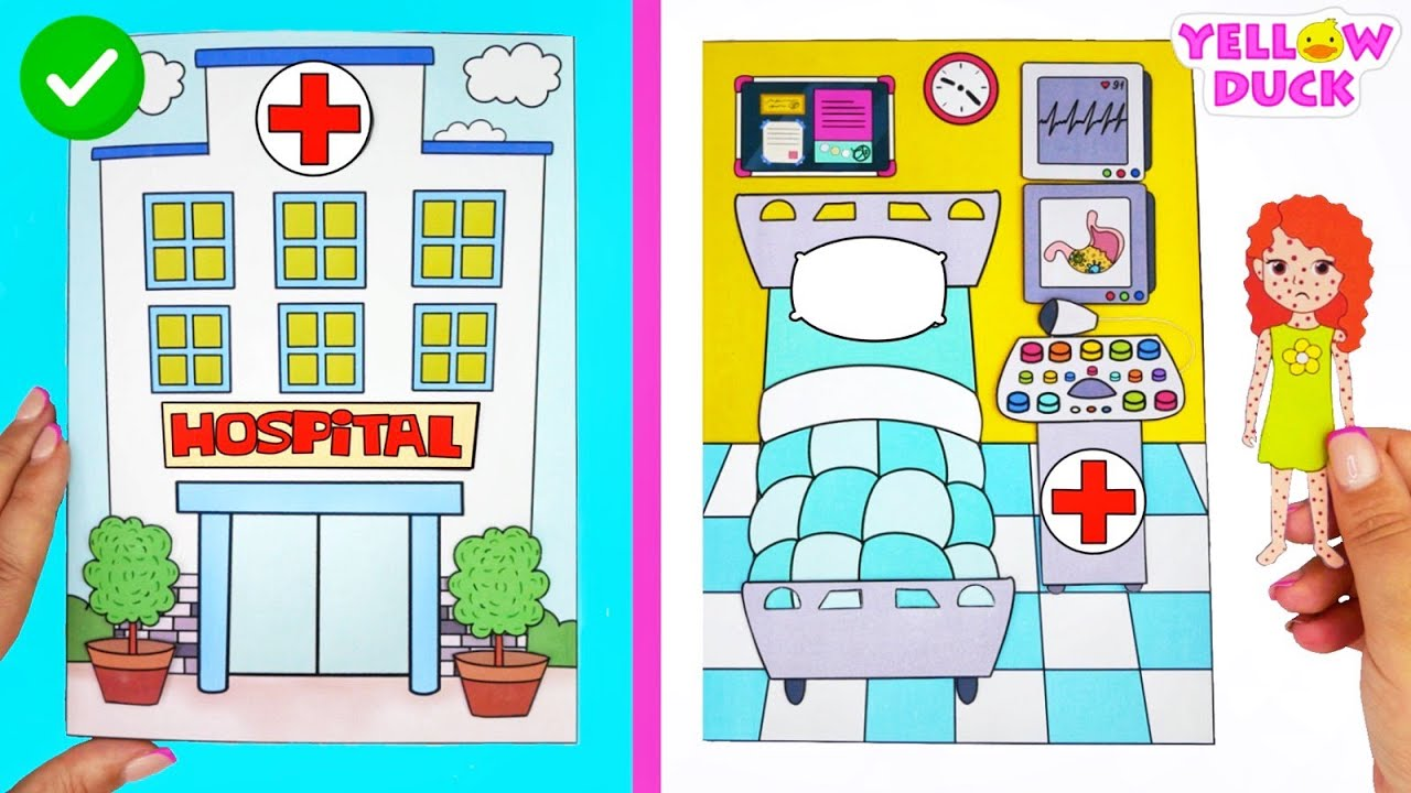 EASY PAPER CRAFT HOSPITAL FOR PAPER DOLLS QUIET BOOK HANDMADE