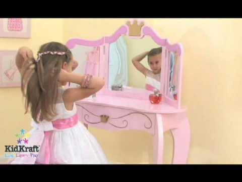 Girls Pink Princess Vanity Dressing Table U0026 Stool